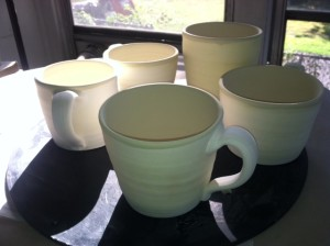 new mugs ready for glaze firing